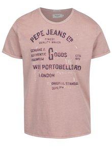 Staroružové pánske tričko s potlačou Pepe Jeans Bamboo
