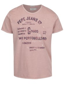 Starorůžové pánské triko s potiskem Pepe Jeans Bamboo