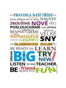 Bílý plakát  HEZKÝ SVĚT Pravidla naší třídy AJ