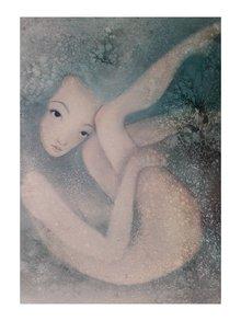 Šedo-krémový autorský plakát Hlubinná od Lény Brauner, 50 x 70 cm