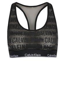 Čierna priesvitná podprsenka s potlačou Calvin Klein