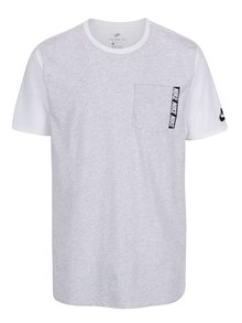 Bílo-šedé pánské dlouhé triko s náprsní kapsou Nike Tee