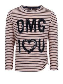 Růžové holčičí pruhované tričko s flitry name it Haily