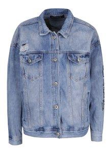Modrá džínová bunda s výšivkou a nášivkou Haily's Find