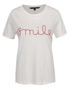 Krémové tričko s vyšitým nápisom VERO MODA Ann