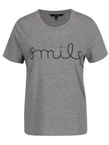 Sivé tričko s vyšitým nápisom VERO MODA Ann