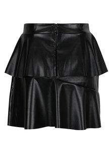 Černá koženková sukně s volány Noisy May Avalia