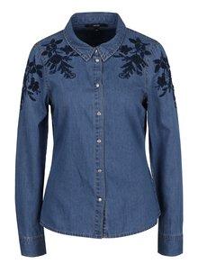 Modrá rifľová košeľa s výšivkami VERO MODA Jana