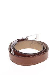 Hnedý kožený opasok s kovovou prackou Selected Homme Belt