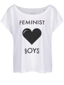 Biele dámske oversize tričko ZOOT Originál Feminist loves boys