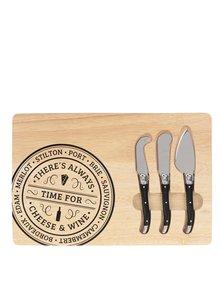 Světle hnědé dřevěné prkénko se sadou tří nožů na sýr CGB