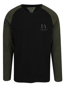 Zeleno-čierne tričko s dlhým rukávom Only & Sons Lance