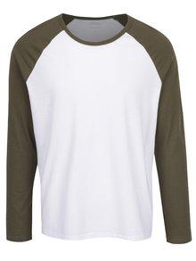 Zeleno-biele tričko s dlhým rukávom Burton Menswear London