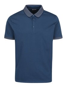 Tricou albastru polo, guler cu model Burton Menswear London