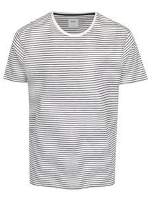 Modro-krémové pruhované tričko Burton Menswear London