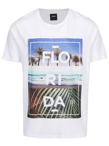Tricou alb print Florida Burton Menswear London
