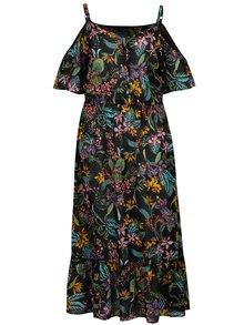 Černé květované maxišaty s odhalenými rameny Dorothy Perkins Curve