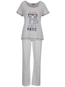 Sivo-krémové pyžamo s potlačou mačky Dorothy Perkins