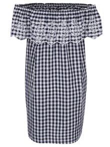 Bielo-modré kockované šaty s volánom a madeirou Dorothy Perkins