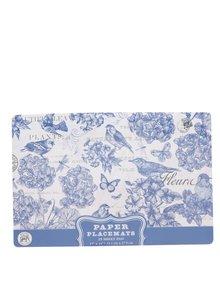 Modro-krémové kvetované papierové prestieranie Michel Design Works