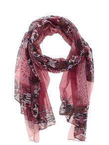 Růžovo-červený vzorovaný šátek Desigual Dusty