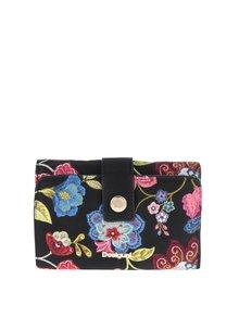 Čierna peňaženka s kvetinovým vzorom Desigual Caribou Lengüeta