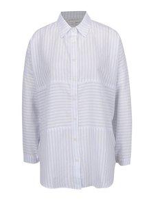 Krémovo-modrá pruhovaná volná košile Apricot