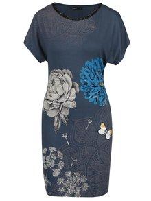 Sivo-modré šaty s potlačou kvetín a s flitrami Desigual Ginger