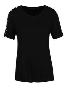 Černé tričko s korálky na rukávech Dorothy Perkins