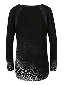 Čierny ľahký vzorovaný sveter s kamienkami Desigual Pullover