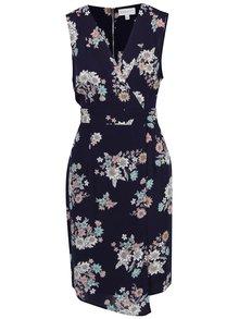 Tmavomodré kvetované šaty s prekladaným výstrihom Apricot