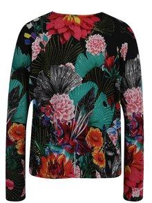 Kvetovaný sveter v čiernej, zelenej a červenej farbe Desigual Hawai