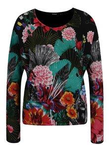 Pulover negru cu print floral multicolor Desigual Hawai
