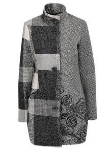 Sivý vzorovaný kabát s prímesou vlny Desigual Unale