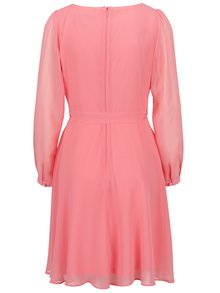 Ružové šaty s opaskom a dlhým rukávom Billie & Blossom