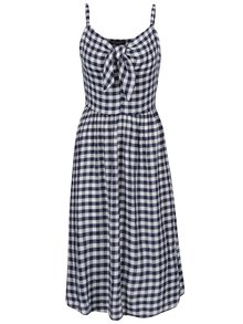 Krémovo-modré kockované šaty s mašľou Dorothy Perkins