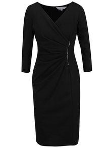 Černé šaty s řasením a zipem Dorothy Perkins