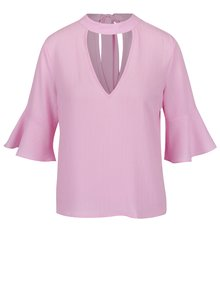 Bluză roz cu decupaj Miss Selfridge