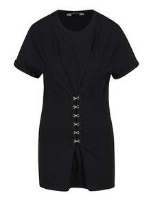 Černé tričko s ozdobnými háčky Miss Selfridge
