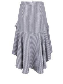 Sivá pruhovaná sukňa s predĺženou zadnou časťou Miss Selfridge