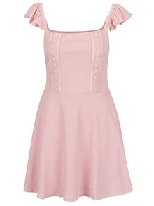 Ružové šaty s volánmi a čipkou Miss Selfridge Petites