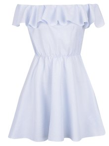Světle modré šaty s odhalenými rameny Miss Selfridge Petites