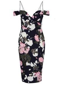 Tmavomodré kvetované šaty so špagetovými ramienkami AX Paris