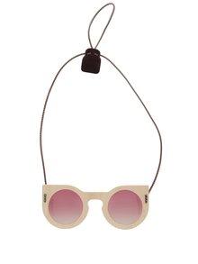 Ochelari de soare unisex cu ramă de lemn și lentilă roz OO! Eyewear CAT