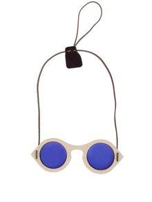 Hnědé dřevěné unisex sluneční brýle s modrými skly OO Eyewear LIME