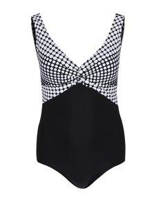 Bílo-černé jednodílné plavky s puntíky Ulla Popken