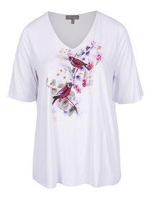 Bílé tričko s motivem květů a ptáků Ulla Popken