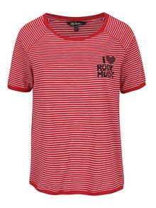 Červené pruhované tričko s potiskem Ulla Popken