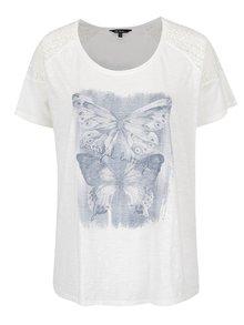Krémové tričko s čipkovanými detailmi a potlačou motýľa Ulla Popken