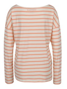 Oranžovo-krémové dámske pruhované tričko s lodičkovým výstrihom BUSHMAN Sailora